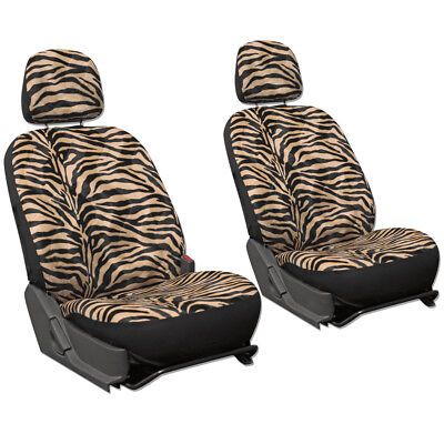 SUV Van Truck Seat Cover Tan Zebra Print 6pc Bucket Detachable Head Rest for sale  Shipping to Canada