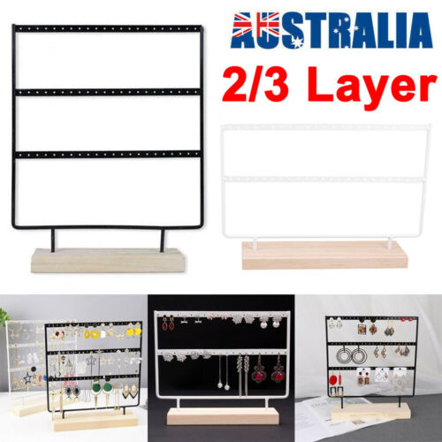 Jewellery - 2/3 Layer Wooden Earring Display Stand Holder Jewelry Necklace Rack Organizer AU