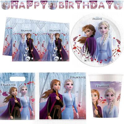 Frozen 2 Partyset Anna Elsa Tischdecke Teller Becher Banner Servietten
