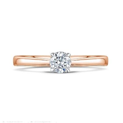 Sale 0.30 Ct Real Diamond Engagement Ring 14K Solid Rose Gold Round Band M N O