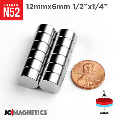 5 10 25pc 12mm X 6mm 12 X 14 N52 Strong Rare Earth Neodymium Magnet Disc