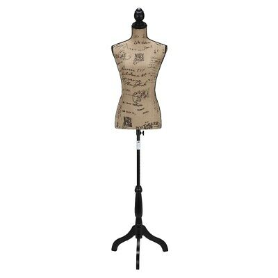 Homegear Female Lady Mannequin Torso Form W Tripod Stand - Vintage Pattern