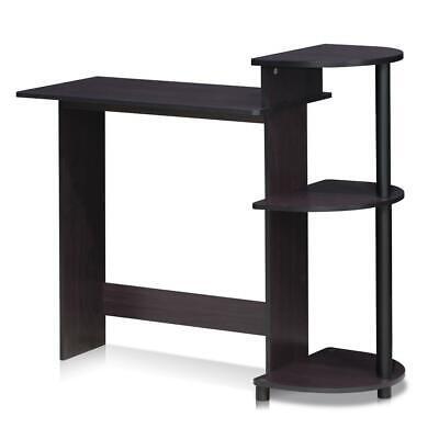 Furinno Compact Computer Desk With Shelves Dark Walnut 11181dwn