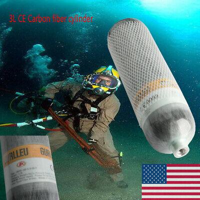 Gurlleu Carbon Fiber Diving 3L CE 4500psi Tank Scuba PCP Cylinder For Breathing Carbon Fiber Scuba