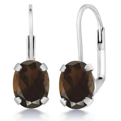 2.40 Ct Oval Brown Smoky Quartz Silver Plated Brass Lever Back Earrings