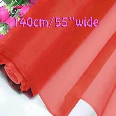 Flame scarlet light weight pure silk organza bridal dress for Wedding dress fabric samples