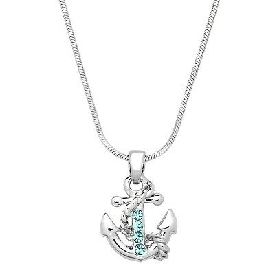 "Anchor Charm Pendant Necklace - Sparkling Crystal - 17"" Chain - 5 Colors"