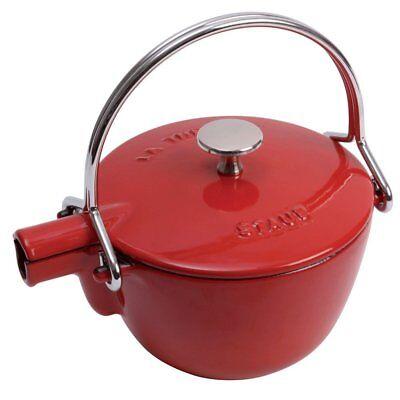 Staub 1650006 1 Quart Cast Iron Round Teapot Tea Kettle, Cherry