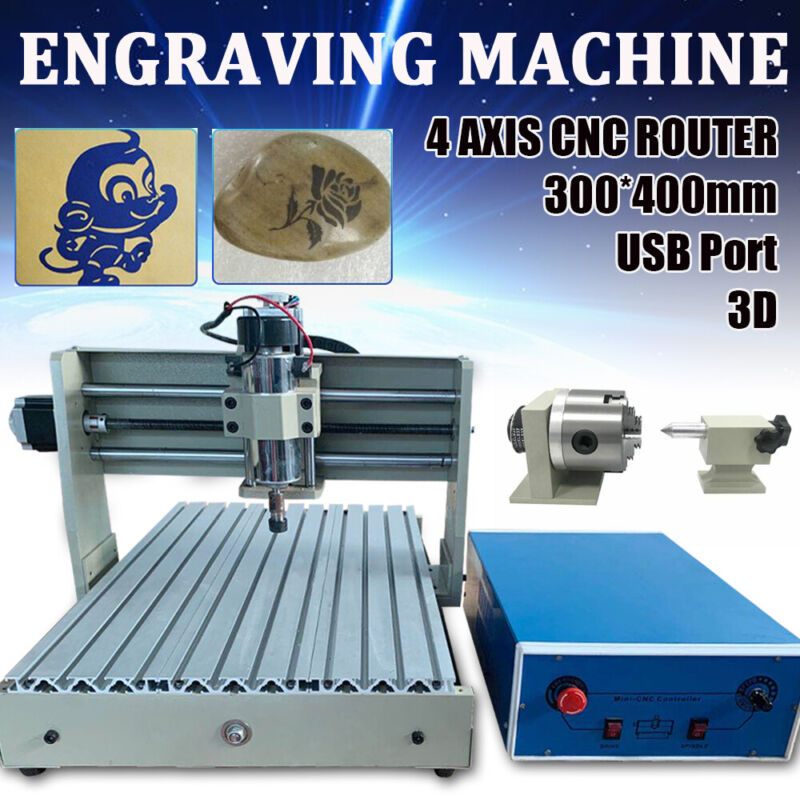USB 4-Axis 3040 CNC Router Engraver Cutter Engraving Milling/Woodworking Machine