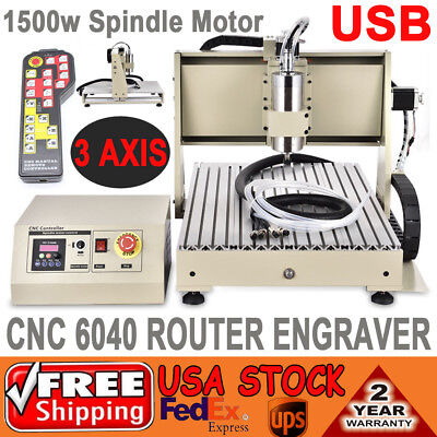 1.5kw 6040 3axis Usb Cnc Router Engraver Cutter Drill Mill Machine Controller