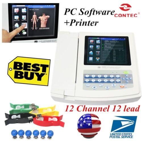 CONTEC ECG1200G Digital 12 channel/lead EKG+PC Sync software, Electrocardiograph