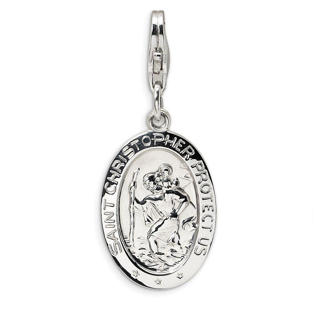 6af5fdb392f Details about Large Oval St. Christopher Medal Charm in 925 Sterling Silver  32x13mm