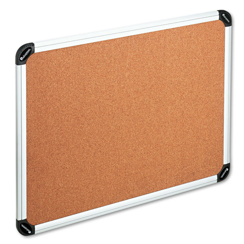 Universal One Cork Board With Alum Frame 48x36 Natural Silver Frame 43714 NEW