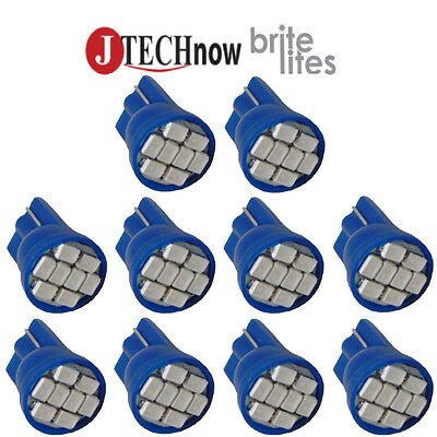 10x T10 8-SMD Blue LED Interior, Instrument, License Light W5W 194 168 2825 158