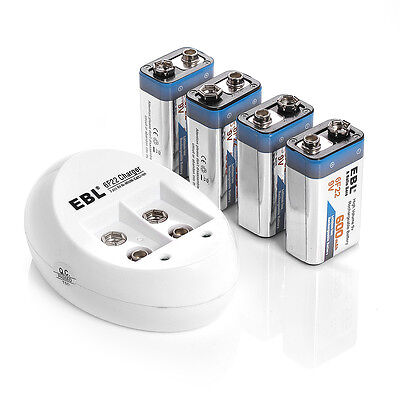 4x EBL 600mAh 9V Li-ion Lithium-ion Rechargeable Battery + 9 Volt 6F22 Charger