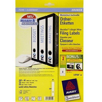 75 Ordner Etiketten 61x297mm Blickdicht & hochweiß Avery Zweckform L4759-25