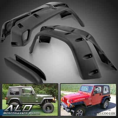 Wide Black Pocket Extended Fender Flares Kit For 97-06 JEEP WRANGLER TJ