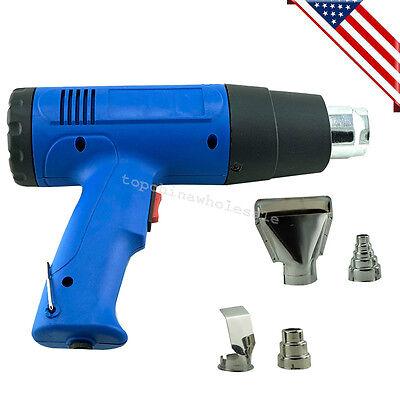 Blue Heat Gun Hot Air Gun Dual Temperature4 Nozzles Power Tool 1500w Heater Gun