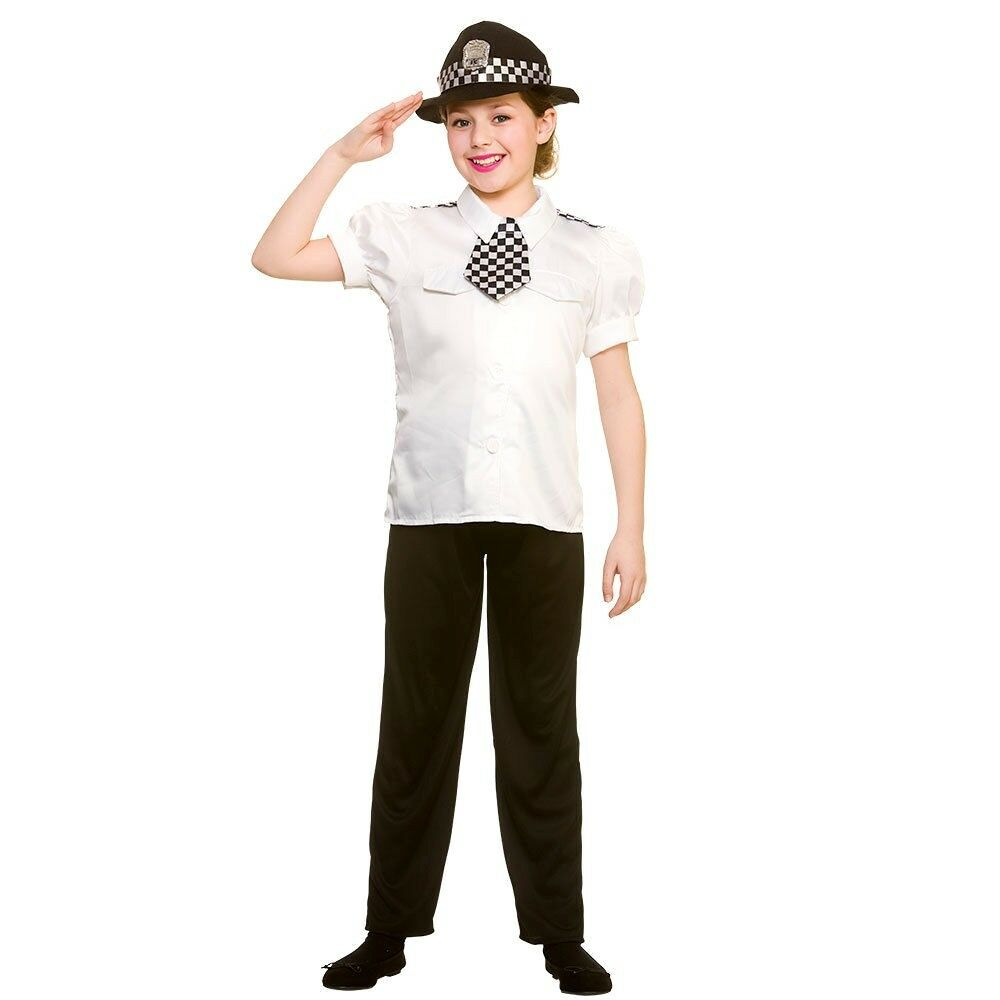 Child POLICEWOMAN PC Cop Police Woman Girls Force Fancy Dress Costume Age 5-10