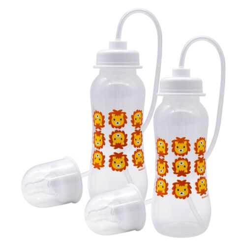 Podee Hands Free Baby Bottle - Anti-Colic Feeding System 9 oz (2 Pack - Lion)