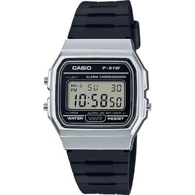 Mens Casio F91wm 7A Silver Classic Black Rubber Resin Digital Sport Alarm Watch