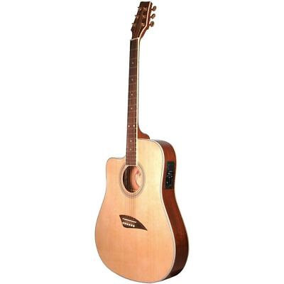 NEW KONA K2LN LEFT HANDED THIN BODY ACOUSTIC ELECTRIC GUITAR, NATURAL K2
