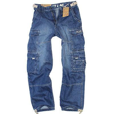 Jet Lag Jeans 007 Herren denim navy Hose Seitentaschen blau Cargojeans Cargo  ()