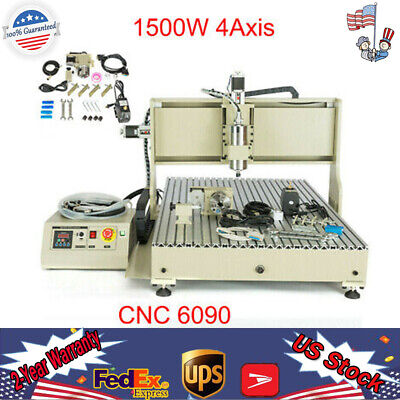 Usb 1500w 4axis 6090 Cnc Router Engraver Woodworking Advertising Mill Machine