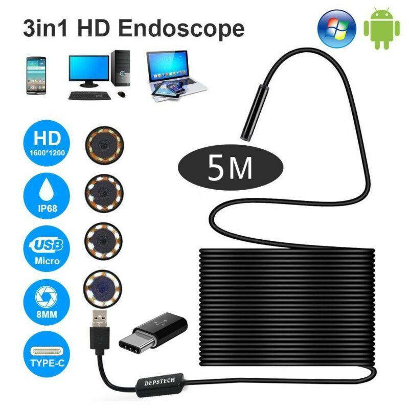 6LED 5.5mm Android Endoscope Waterproof Borescope USB Type C Inspection Camera