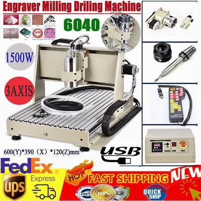 Usb 3 Axis Cnc Router 6040 Engraver Metal Drillmilling Machine 1.5kwhandwheel