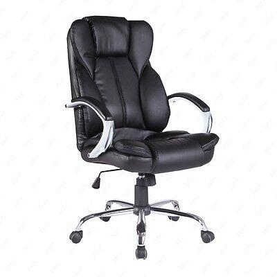 Modern Black High Back Executive Swivel Office Chair PU Leather Computer Desk