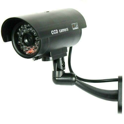 IR Bullet Fake Dummy Surveillance Security Camera CCTV & Record Light - Black