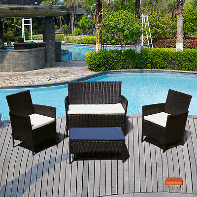 4PC Patio Rattan Wicker Leader Sofa Table Set Patio Garden Furniture with Cushion