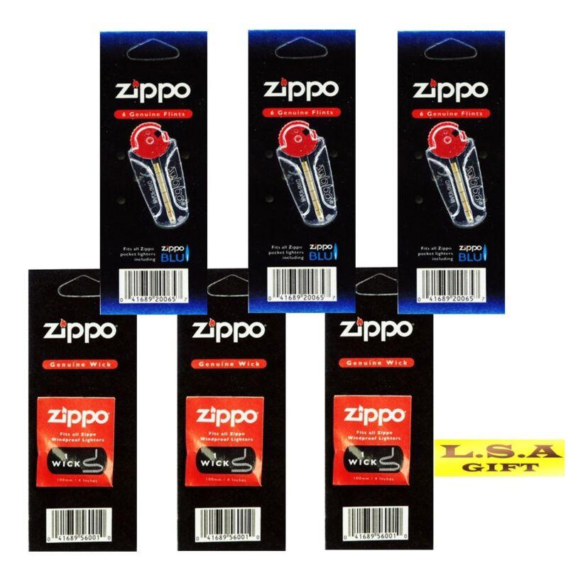 Zippo Lighter Flint&Wick of 6 Value Packs(18 flint+3 wick)