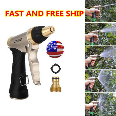Brass Water Hose - Metal Garden Hose Nozzle Water Sprayer Gun +Brass Connector Adjustable US