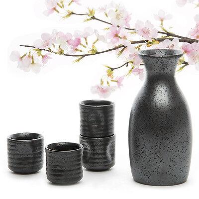 Glazed Ceramic 5Pcs Japanese Porcelain Hand Painted Sake Set Bottle Cup Gift Set
