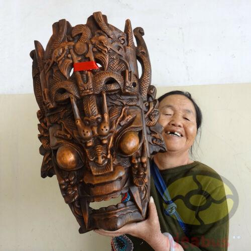 "Chinese Folk Art Wood Hand Carved NUO MASK Walldecor-DRAGON KING Deity 20.5""tall"