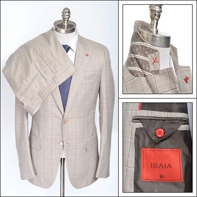 NWT ISAIA Gregorio Beige Plaid Super 140's Wool Slim Fit Suit 48 8R 38 R