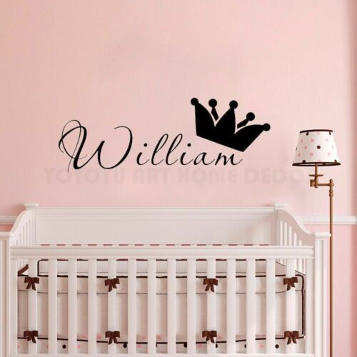 Personalized Name Prince Wall Sticker Kids Baby Room Wall Decal Removable Vinyl