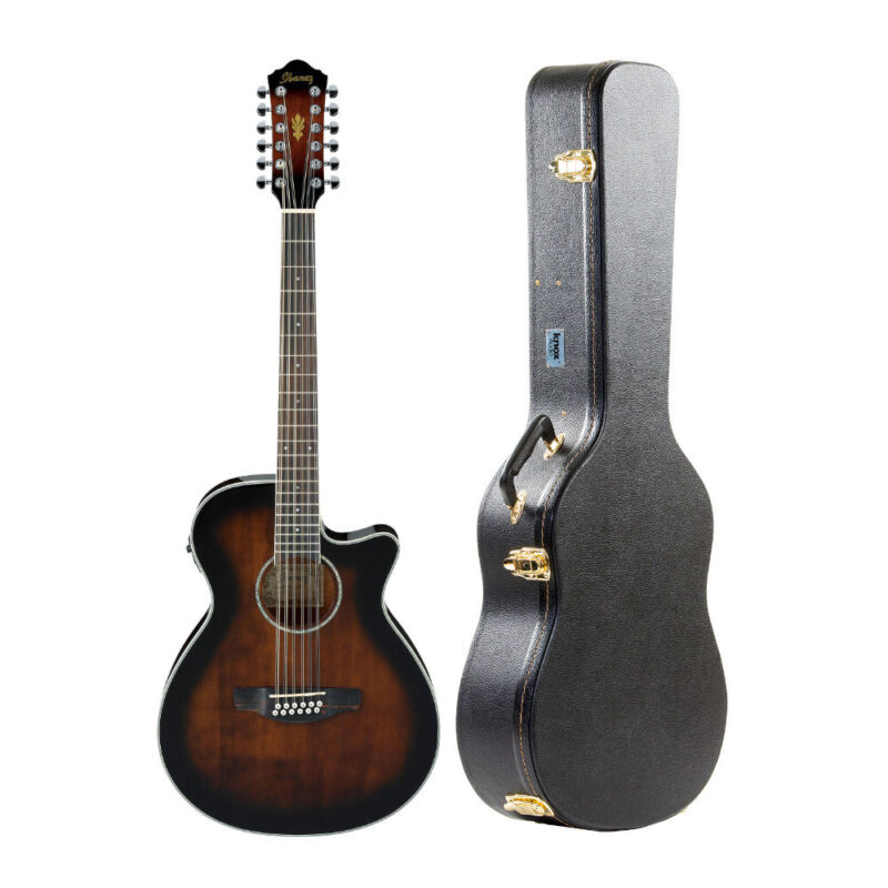 Ibanez AEG1812II 12-String Acoustic-Electric Guitar with Hard Case Bundle
