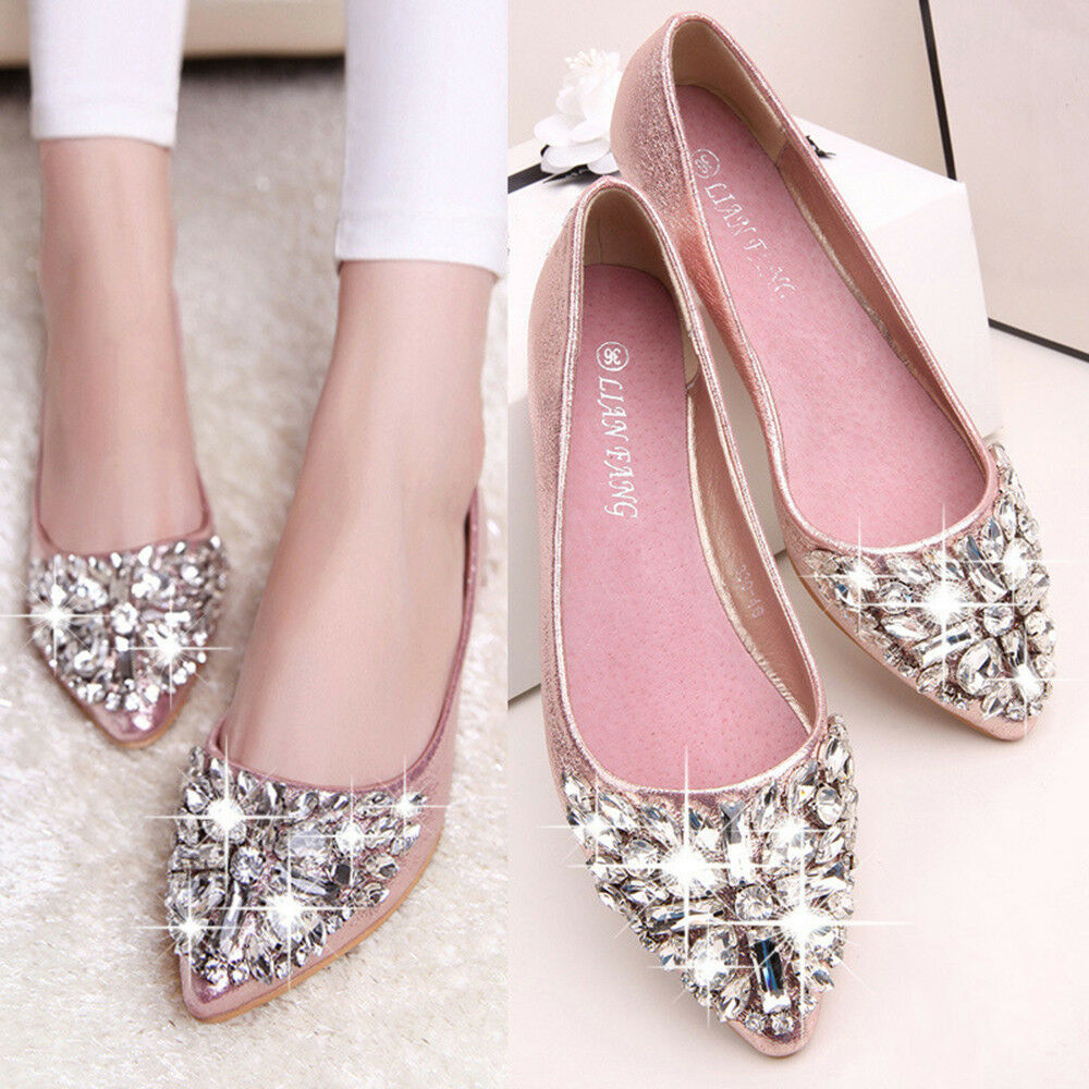 Women's Pointed Toe Ladise Shoes Casual Rhinestone Low Heel Flat Shoes ca
