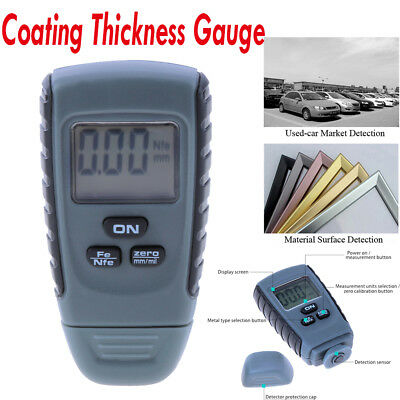 Digital Auto Car Paint Coating Thickness Gauge Resolution Meter Tester 0-1.25mm