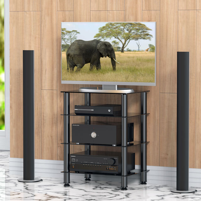 Media Component Stand Audio Cabinet With Glass Shelf For