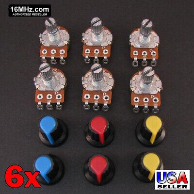6x 10k Ohm Linear Taper Solder Lug Potentiometer B10k Black Knob Usa 6pcs U72