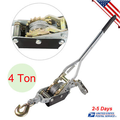 Powerful Ratcheting System 4t 8000lb Hand Puller Cable Pulling Power Winch Hoist