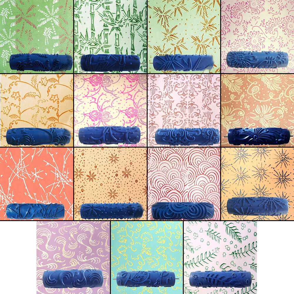 5/'/' Embossed Paint Roller Sleeve Wall Texture Stencil Brush DIY Decor #17