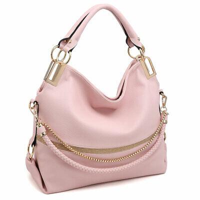 Women Handbags Hobo Large Shoulder Bag Purse w/ Weaved Golden Chain Strap