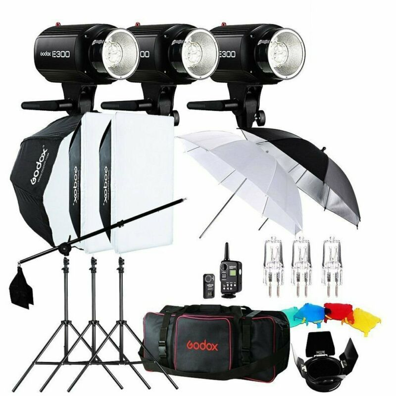 900W Godox 3x E300 300Ws Photo Studio Strobe Flash light +Softbox+Trigger Kit
