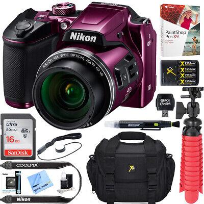 Nikon COOLPIX B500 16MP 40x Optical Zoom Digital Camera Plum Refurb+16GB Bundle