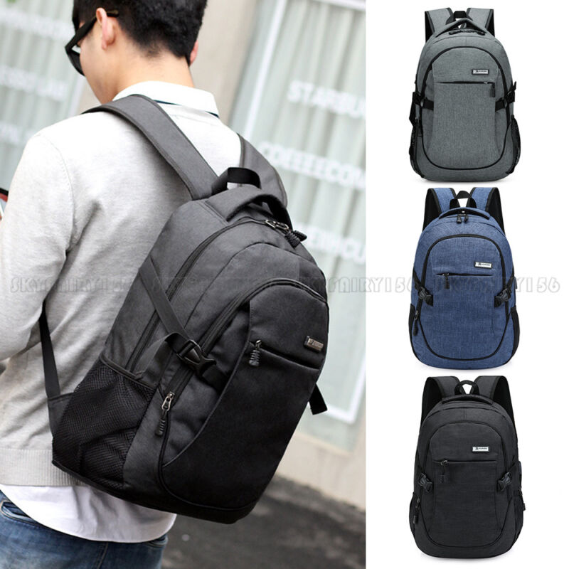 Anti-theft USB Charging Backpack Laptop Notebook Travel School Bag Mens Womens
